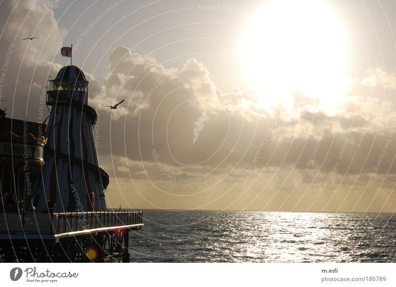 bright sky over brighton Wasser Sonne Meer Wolken Herbst Wellen Küste Umwelt Anlegestelle Leuchtturm England Atlantik Brighton
