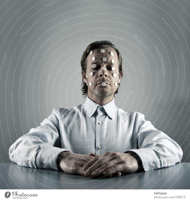 samstags kommt das sams Mensch Mann Erwachsene Gesicht Kopf Porträt Haut Tisch Schatten Punkt Krankheit Hemd ernst Patient Scheitel 30-45 Jahre