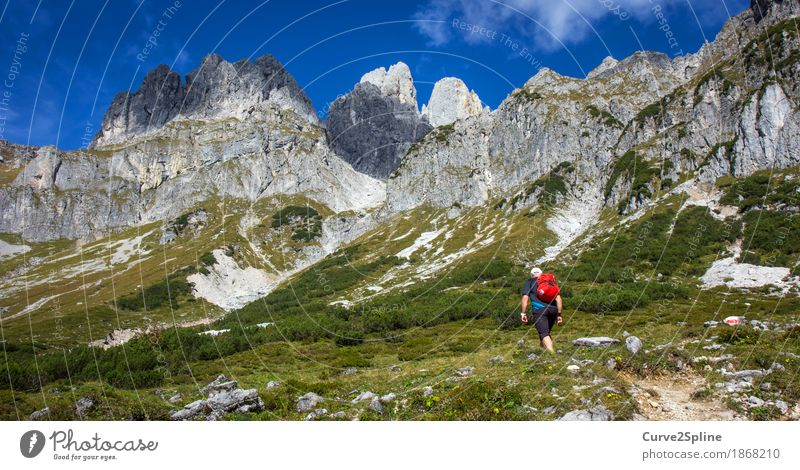Red Point Mensch Himmel Natur Ferien & Urlaub & Reisen Sommer Landschaft rot Wald Berge u. Gebirge Erwachsene Wege & Pfade Wiese Freiheit Felsen maskulin