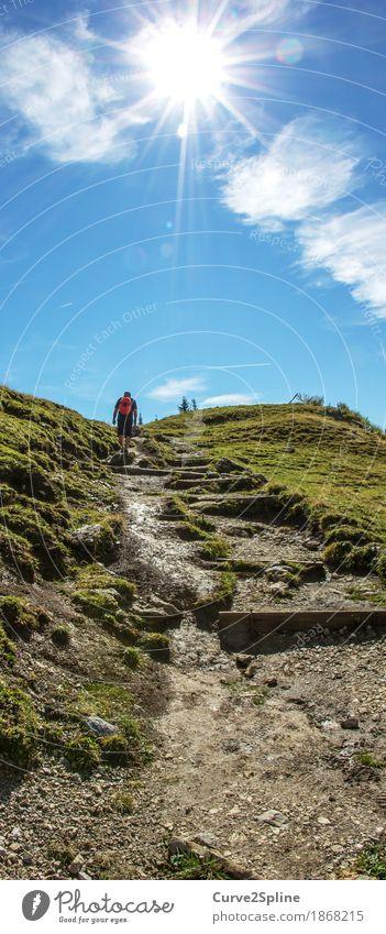 Zustieg Freizeit & Hobby wandern Mensch maskulin Natur Urelemente Wiese Feld Hügel Felsen Alpen Berge u. Gebirge Bewegung Bergsteigen Bergsteiger Wege & Pfade