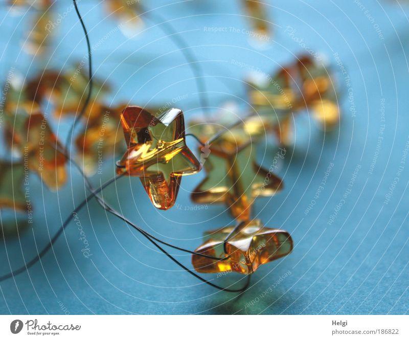 weihnachtlich... Weihnachten & Advent schön blau gelb grau Stimmung Metall glänzend klein Glas Design Stern (Symbol) Licht ästhetisch Kitsch