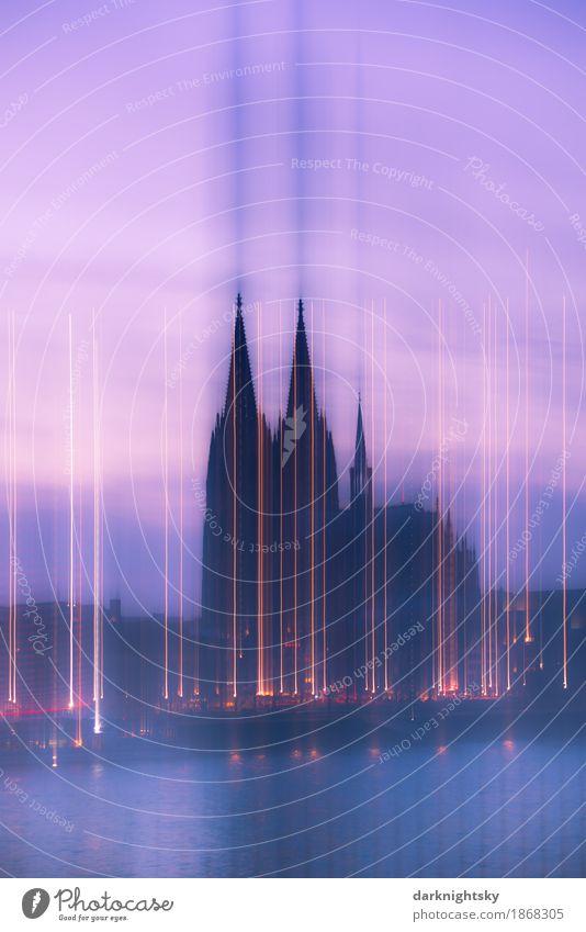 Cologne Lights alt blau Stadt Architektur gelb Religion & Glaube Gebäude leuchten gold retro ästhetisch Kirche Turm Bauwerk Sehenswürdigkeit