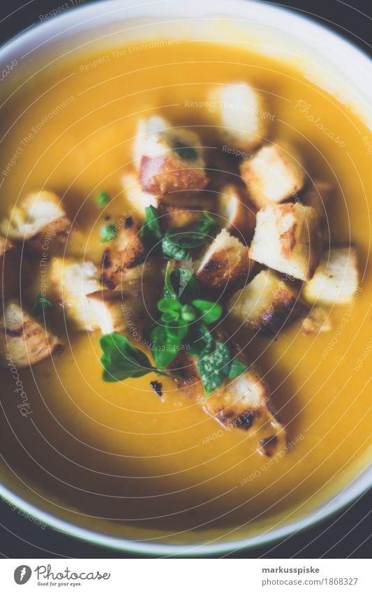 kürbis creme suppe mit geröstete brotwürfel Gesunde Ernährung Haus Essen Leben Lebensmittel genießen Kräuter & Gewürze Küche Gemüse Übergewicht Bioprodukte Duft