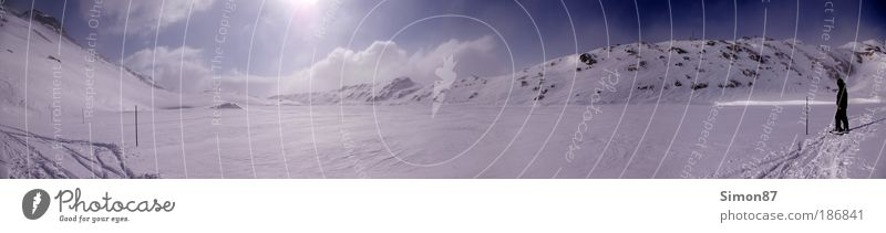 White Lake Himmel Natur weiß Ferien & Urlaub & Reisen Sonne Winter Wolken ruhig Umwelt Landschaft kalt Schnee Berge u. Gebirge Freiheit See Eis