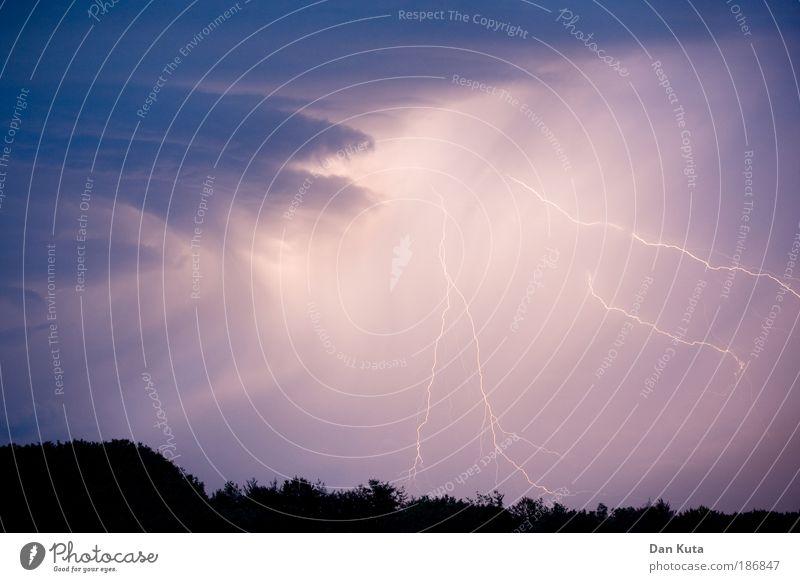 Blitzanlage Natur blau Sommer Angst Macht Klima violett Wut Sturm außergewöhnlich Blitze Schmerz Gewitter Unwetter Urelemente Respekt