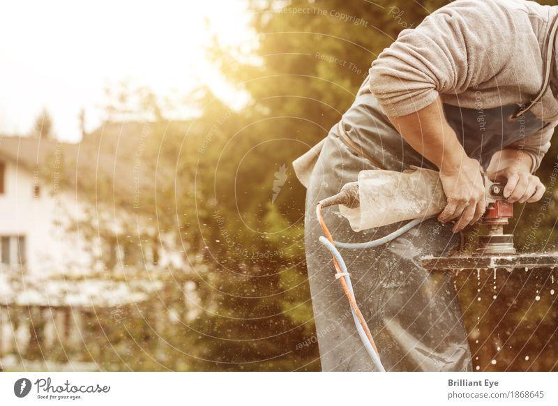 Schleifen in der Abendsonne Sommer Sonne Beruf Handwerker Arbeitsplatz Industrie Baustelle Mensch maskulin 1 18-30 Jahre Jugendliche Erwachsene Natur Wasser