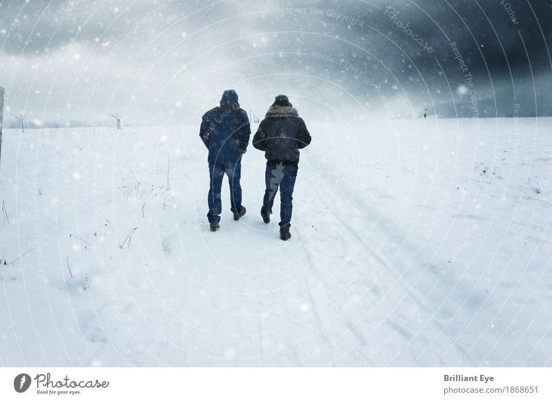 Wir zwei und der Schnee Lifestyle Freizeit & Hobby Ausflug Winter wandern Natur Landschaft Wetter Unwetter Wind Sturm Nebel Park Feld Bewegung laufen Ferne