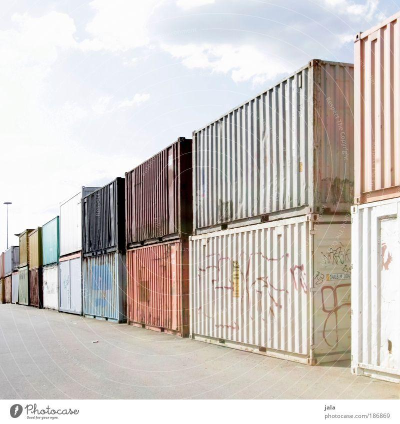 container. Himmel groß Güterverkehr & Logistik Fabrik Hafen Lastwagen Handel viele Container Lager Industrieanlage Ware Schienenverkehr sehr viele