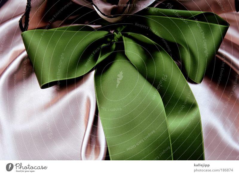 present perfect Lifestyle Feste & Feiern Valentinstag Muttertag Taufe Stoff Streifen Schnur Knoten Schleife glänzend grün rosa Gefühle geheimnisvoll schenken