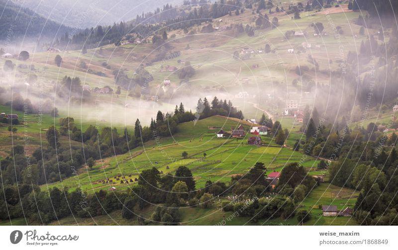 Alpendorf in Bergen. Rauch und Dunst schön Ferien & Urlaub & Reisen Tourismus Ausflug Freiheit Berge u. Gebirge Haus Umwelt Natur Landschaft Pflanze Herbst