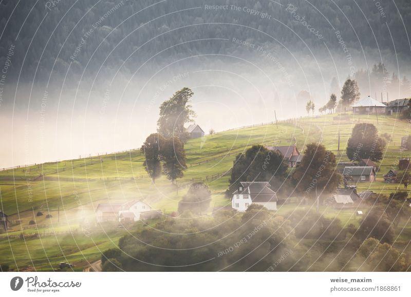 Alpendorf in Bergen. Rauch, Feuer und Dunst Natur Ferien & Urlaub & Reisen Pflanze Farbe grün weiß Baum Landschaft Haus Ferne Wald Berge u. Gebirge Umwelt