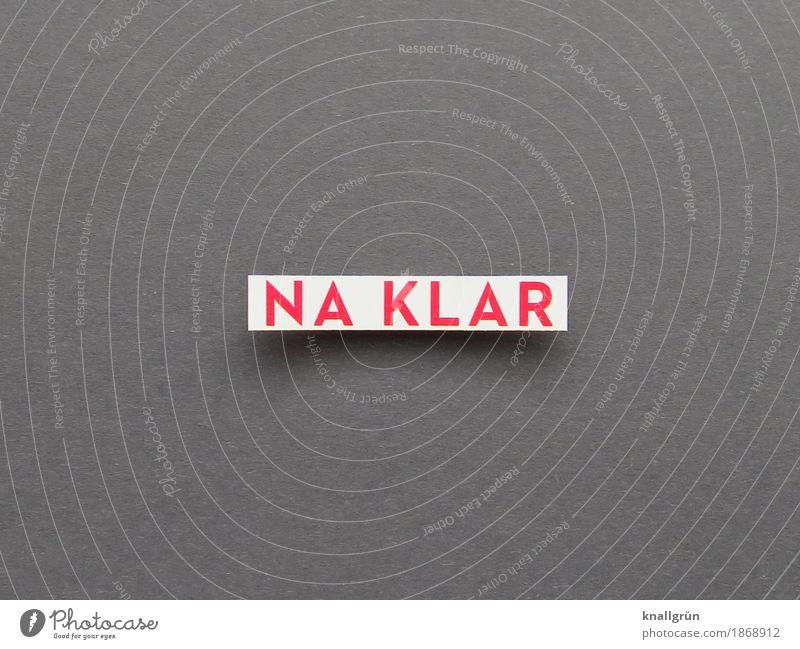 NA KLAR Schriftzeichen Schilder & Markierungen Kommunizieren eckig grau rot weiß Gefühle Stimmung Begeisterung selbstbewußt Optimismus Mut Interesse