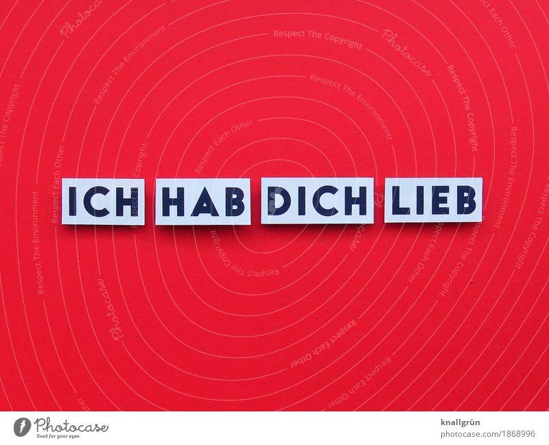 ICH HAB DICH LIEB Schriftzeichen Schilder & Markierungen Kommunizieren Liebe eckig rot schwarz weiß Gefühle Zufriedenheit Lebensfreude Frühlingsgefühle