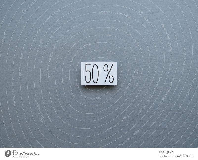 50% Schriftzeichen Schilder & Markierungen Prozentzeichen Kommunizieren eckig grau schwarz weiß Gefühle Stimmung Neugier Zufriedenheit Fifty-fifty Hälfte