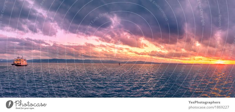 Bodenseepanorama bei Sonnenuntergang Freude Ferien & Urlaub & Reisen Abenteuer Kreuzfahrt Entertainment Natur Himmel Wolken Sonnenaufgang See Verkehr