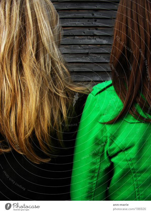 Kontraste feminin Frau Erwachsene Freundschaft Jugendliche Haare & Frisuren 2 Mensch Kunst brünett blond langhaarig Denken braun grün Farbfoto Außenaufnahme
