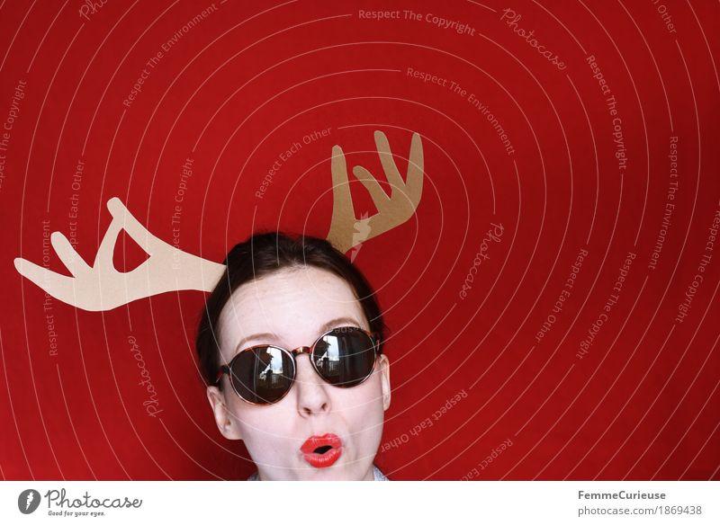 Ho Ho Ho (3) feminin Junge Frau Jugendliche Erwachsene 1 Mensch 18-30 Jahre Freude verkleiden Partygast Weihnachten & Advent festlich Karneval Elch Elchkuh Horn