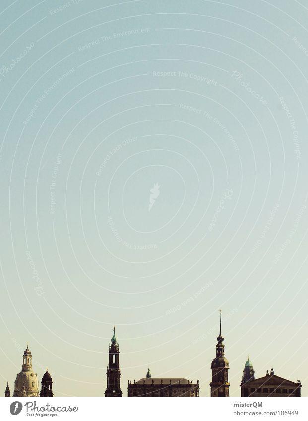 Dresden. Himmel Stadt Kunst Architektur glänzend ästhetisch Kirche Turm Kultur Skyline Vergangenheit Silhouette historisch Stadtzentrum