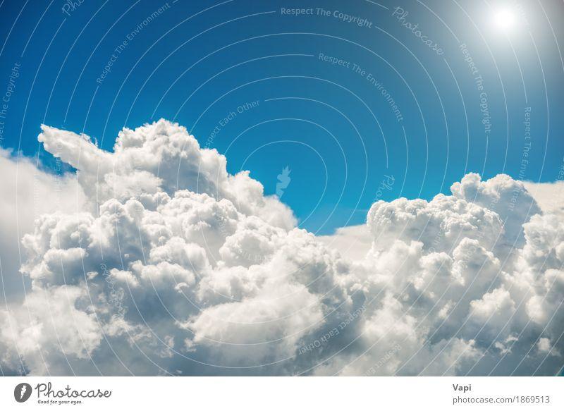 Weiße Wolken, helle Sonne und blauer Himmel Ferien & Urlaub & Reisen Ausflug Freiheit Sommer Umwelt Natur Landschaft Sonnenlicht Klima Klimawandel Wetter