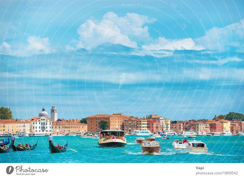 Canal Grande in Venedig Himmel Ferien & Urlaub & Reisen blau Sommer Stadt Wasser weiß Landschaft Wolken Haus schwarz Architektur gelb Küste Gebäude
