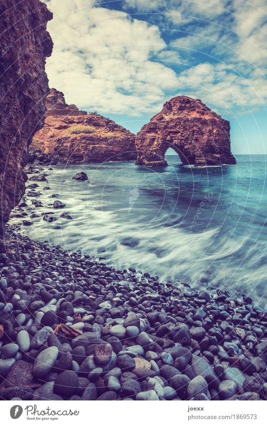 Sammler Landschaft Himmel Wolken Schönes Wetter Felsen Wellen Küste Meer Stein gigantisch groß blau braun weiß bizarr Natur Ferien & Urlaub & Reisen Farbfoto