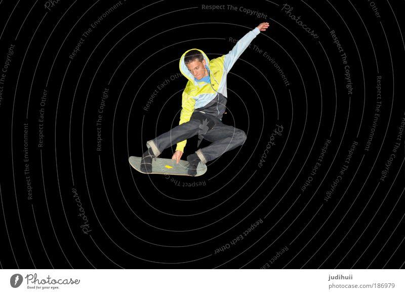 One Pinguin III Freude Skateboarding Sport Trampolin maskulin Junger Mann Jugendliche 1 Mensch Bewegung fliegen sportlich Gesundheit frech gelb schwarz Mut
