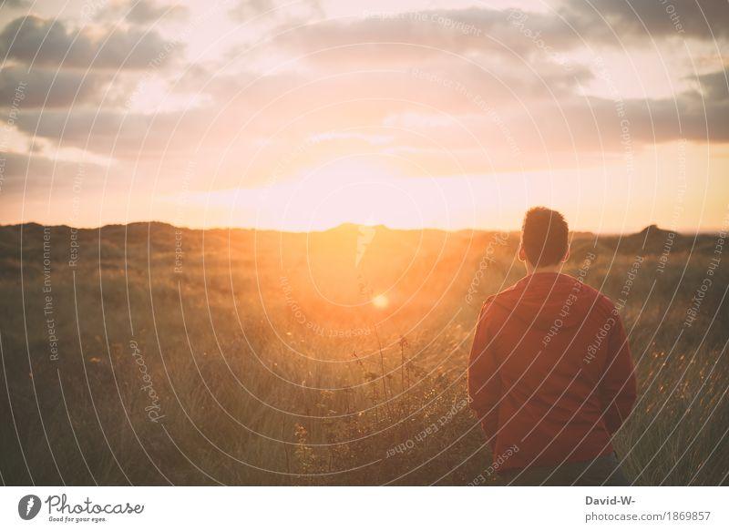 Ruhe Mensch Natur Ferien & Urlaub & Reisen Jugendliche Mann schön Sonne Junger Mann Erholung ruhig Freude Erwachsene Wärme Leben Gesundheit Glück