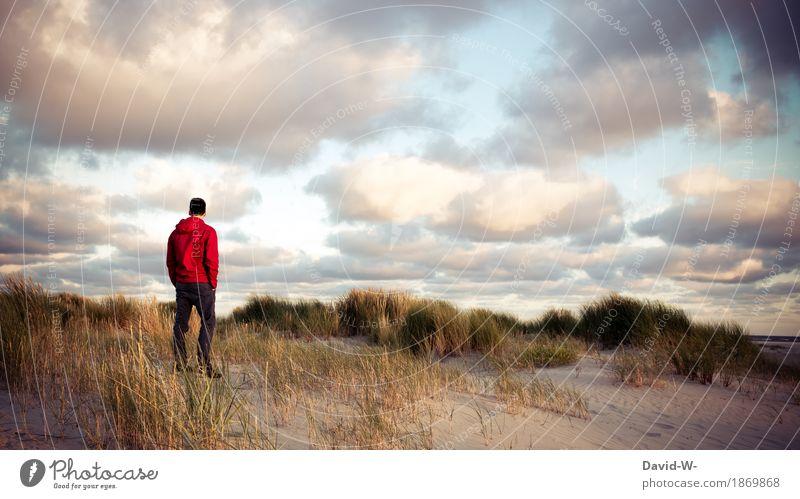 Strandspaziergang Mensch Ferien & Urlaub & Reisen Jugendliche Mann schön Junger Mann Erholung ruhig Ferne Erwachsene Leben Lifestyle Gesundheit Stil Freiheit Tourismus
