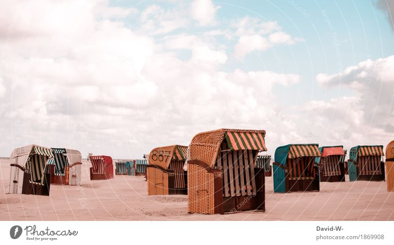 Strandkörbe Leben harmonisch Wohlgefühl Zufriedenheit Erholung ruhig Kur Schwimmen & Baden Freizeit & Hobby Ferien & Urlaub & Reisen Tourismus Ausflug Sommer