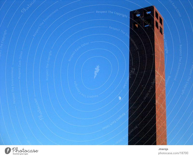 Minimal Himmel blau rot Einsamkeit Kunst Architektur einfach Turm Kultur Klarheit Mond Himmelskörper & Weltall