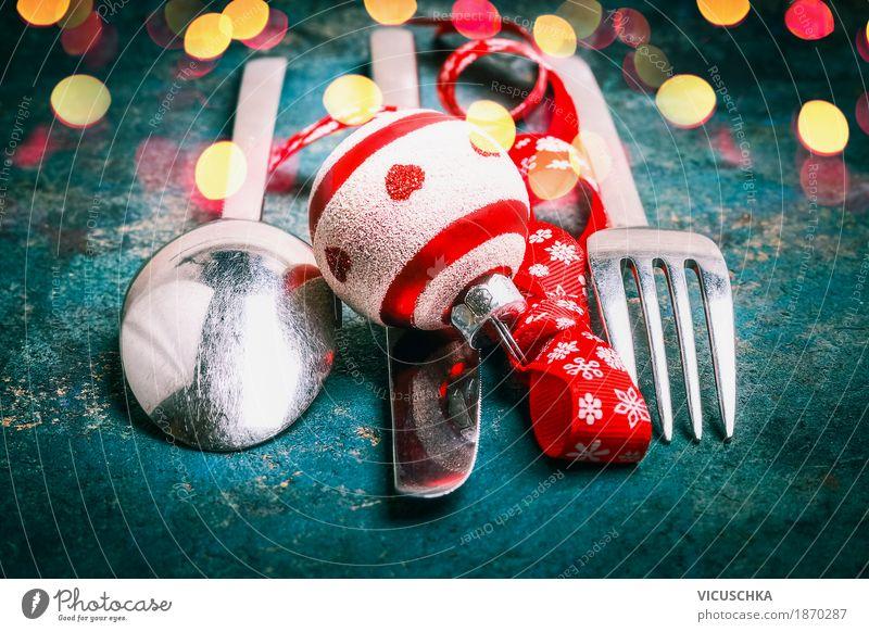 Besteck mit Kugel und Schleife für Weihnachtsdinner Weihnachten & Advent Freude Winter Stil Feste & Feiern Party Stimmung Design Ernährung
