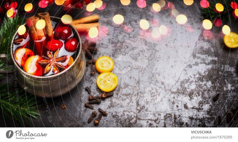 Glühwein Tasse und Gewürze auf rustikalem Hintergrund Weihnachten & Advent Freude Winter dunkel Stil Feste & Feiern Party Stimmung Design Dekoration & Verzierung Zeichen Getränk Fahne Veranstaltung Tradition Duft
