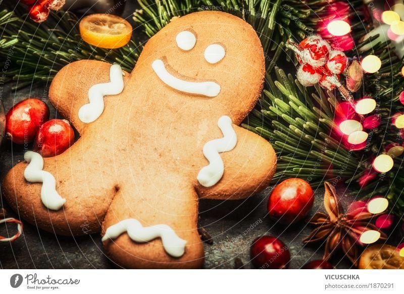 Lächelnde Lebkuchenmänn und Weihnachtsdekoration Weihnachten & Advent Freude Winter Stil Feste & Feiern Design Dekoration & Verzierung Fröhlichkeit Zeichen