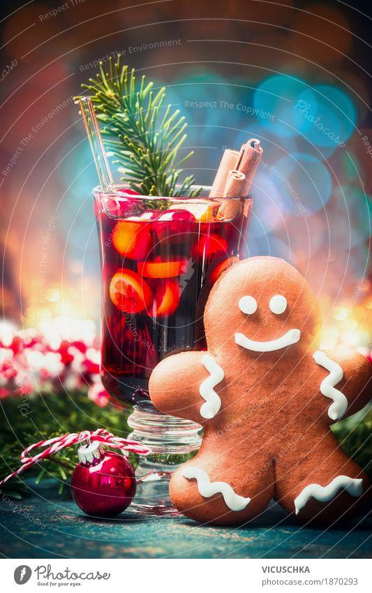 Tasse Glühwein und Lebkuchenmann Süßwaren Festessen Getränk Heißgetränk Wein Stil Design Freude Winter Dekoration & Verzierung Tisch Party Veranstaltung