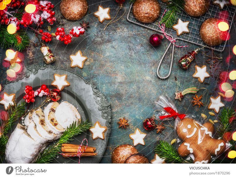 Weihnachtsgebäck mit Dekoration Lebensmittel Teigwaren Backwaren Dessert Süßwaren Ernährung Abendessen Festessen Geschirr Stil Design Freude Winter
