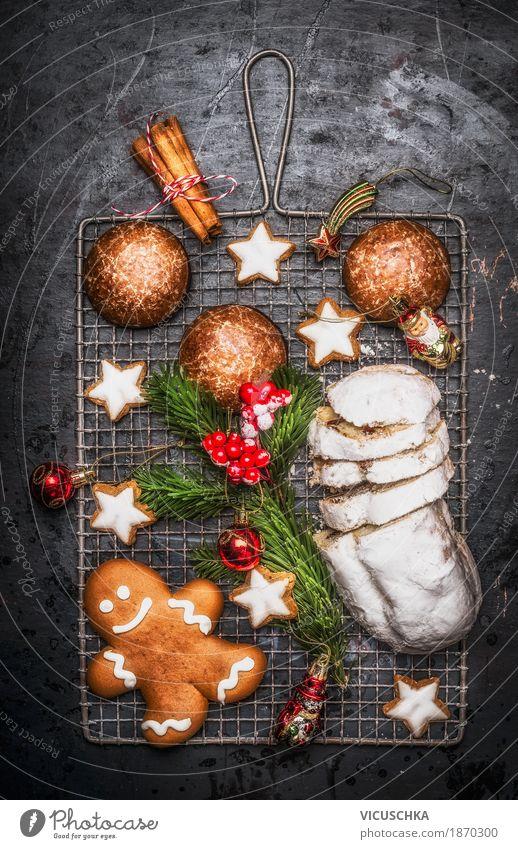 Weihnachtsgebäck: Lebkuchen, Plätzchen und Stollen Dessert Süßwaren Ernährung Festessen Stil Design Freude Winter Häusliches Leben Tisch Feste & Feiern