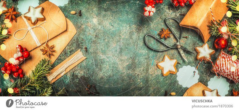 Plätzchen als Weihnachtsgeschenke verpacken blau Weihnachten & Advent rot Freude Winter Stil Feste & Feiern Stimmung Design Dekoration & Verzierung Geschenk