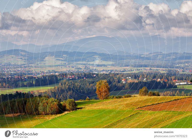 Polen Herbst Hügel. Sonniger Oktober-Tag im Bergdorf Himmel Natur Ferien & Urlaub & Reisen blau Sommer grün Baum Landschaft Haus Ferne Wald Berge u. Gebirge