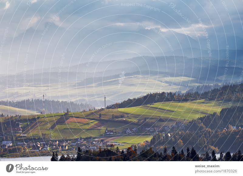 Himmel Natur Ferien & Urlaub & Reisen Sommer grün Baum Landschaft Wolken Haus Ferne Wald Berge u. Gebirge Umwelt gelb Herbst Wiese