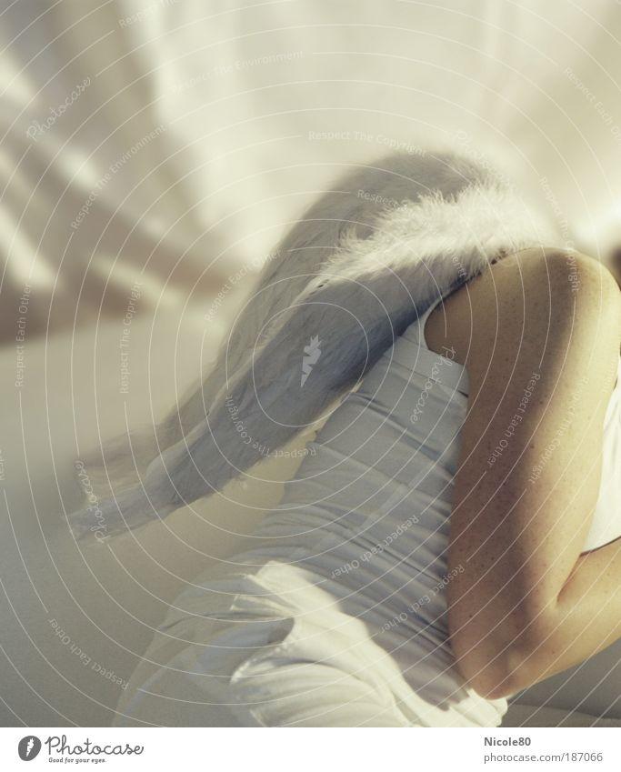 gelandeter Engel Jugendliche weiß schön feminin Traurigkeit träumen hell Arme sitzen fliegen Weihnachten & Advent ästhetisch schlafen Flügel niedlich