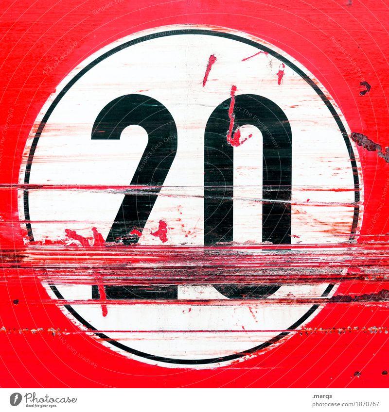 Junk | 20 Verkehrszeichen Verkehrsschild Zeichen Ziffern & Zahlen alt trashig rot schwarz weiß Jubiläum Geburtstag Kratzer Farbfoto Nahaufnahme Menschenleer