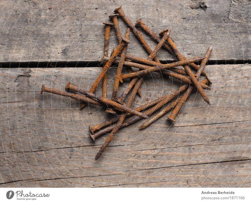 Alte Nägel heimwerken Baustelle Werkzeug Metall Rost alt Verfall Vergänglichkeit rusty nails Hintergrundbild Rust old wood Grunge metal rusted iron texture