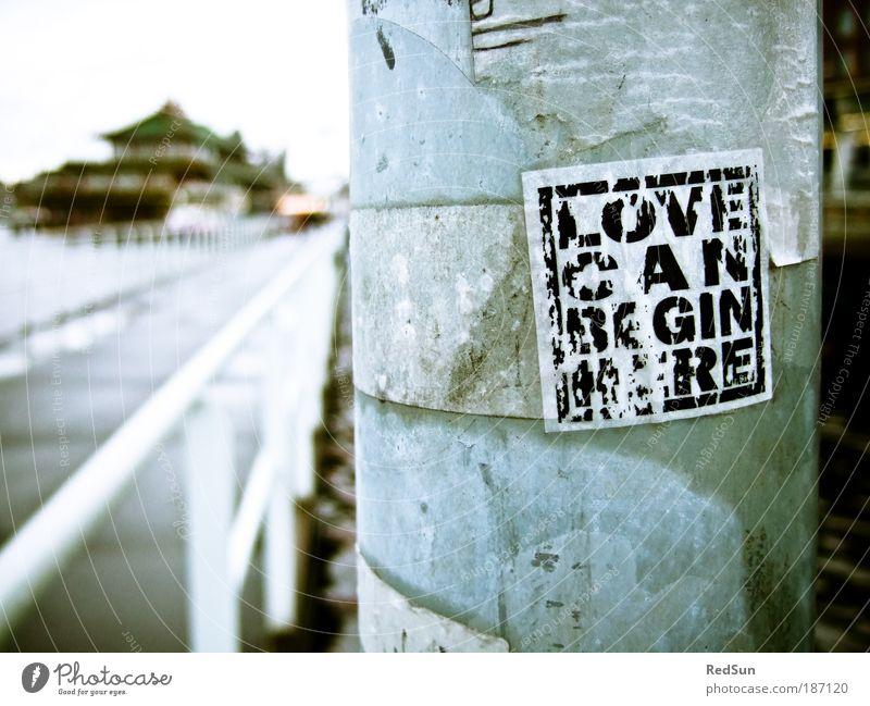 ...or end here. weiß blau Liebe Haus schwarz Gefühle grau Traurigkeit Graffiti hell dreckig Zeit Stadt Brücke Mensch