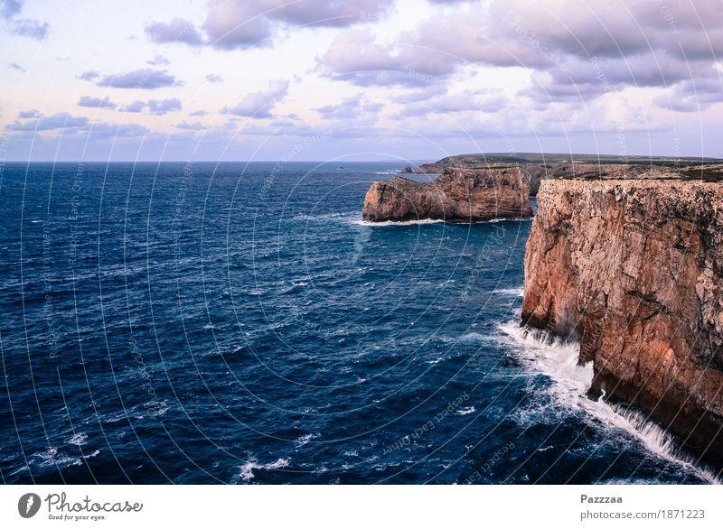 Klippenküste Natur Wind Sturm Felsen Wellen Küste Bucht Meer Schwimmen & Baden wild Atlantik Algarve Portugal Brandung Farbfoto Außenaufnahme Menschenleer