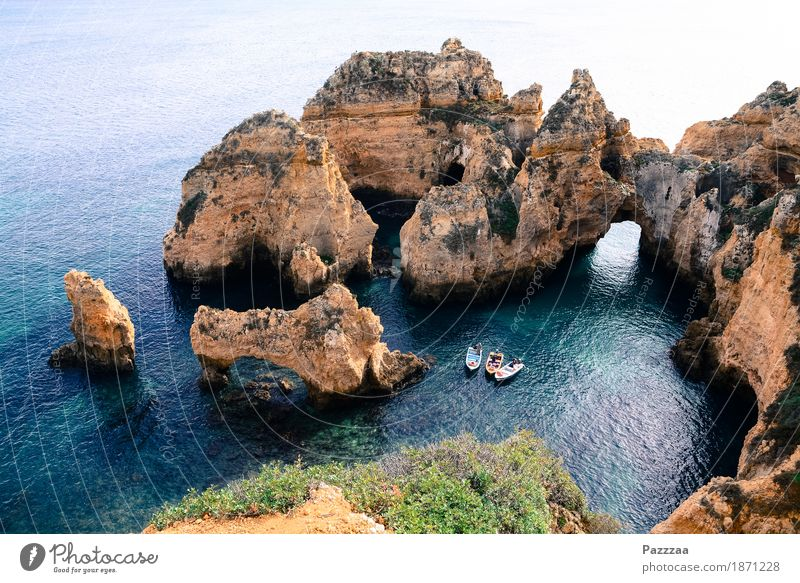 Algarventourismuspflichtprogramm Natur Landschaft Wasser Sommer Schönes Wetter Sträucher Felsen Küste Bucht Riff Meer Atlantik maritim Tourismus