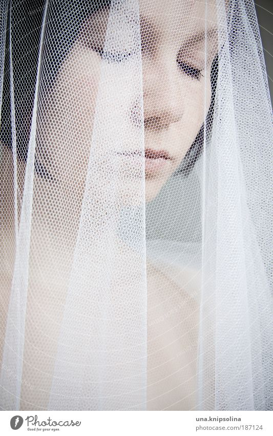 bride Frau Jugendliche weiß Freude ruhig Erwachsene Gesicht Auge feminin Kopf Stil träumen Feste & Feiern Zufriedenheit elegant Hochzeit