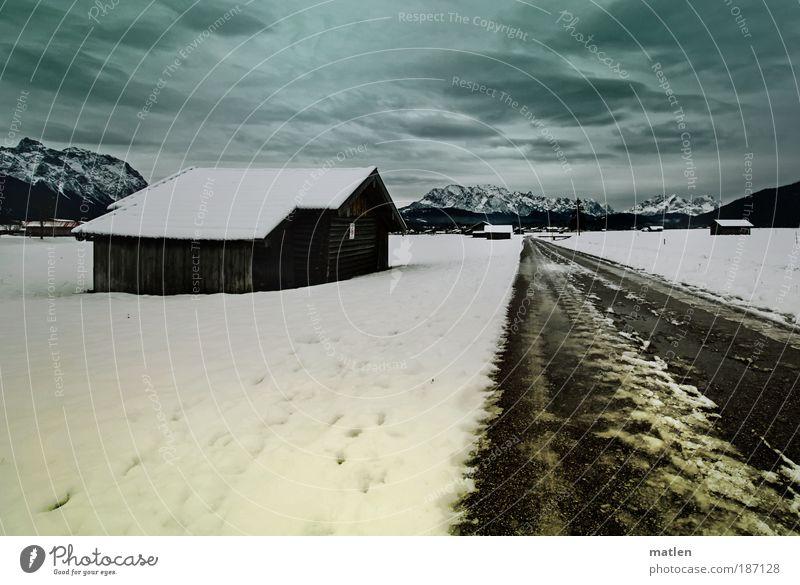 Ammergau Himmel weiß blau Winter Ferien & Urlaub & Reisen Ferne Straße dunkel Schnee Berge u. Gebirge Freiheit Holz Landschaft Eis Stimmung Ausflug