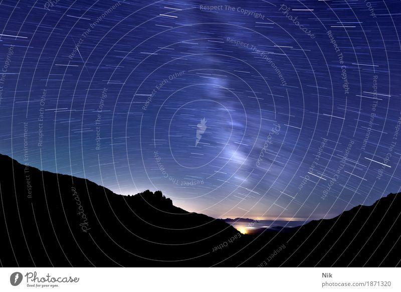 GR20 Refuge d'Asinao Umwelt Natur Landschaft Urelemente Wolkenloser Himmel Nachthimmel Stern Horizont Schönes Wetter Felsen Alpen Berge u. Gebirge Gipfel