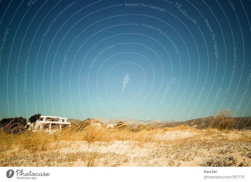 sorgenlos Meer blau Pflanze Sommer Strand Ferien & Urlaub & Reisen Haus Berge u. Gebirge Sand Hintergrundbild Aussicht heiß Hügel trocken Stranddüne Düne