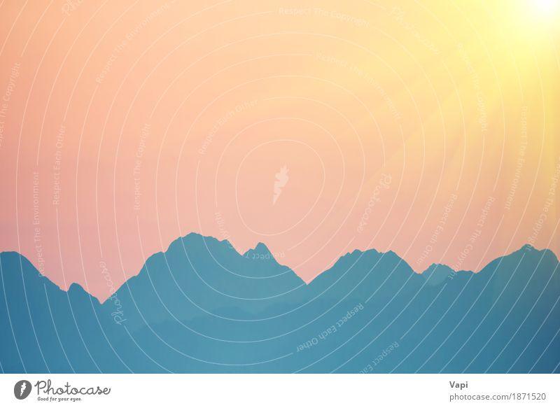 Schöner orange Sonnenuntergang über Bergen Himmel Natur Ferien & Urlaub & Reisen Himmel (Jenseits) blau Farbe Sommer weiß Landschaft rot Wolken Berge u. Gebirge
